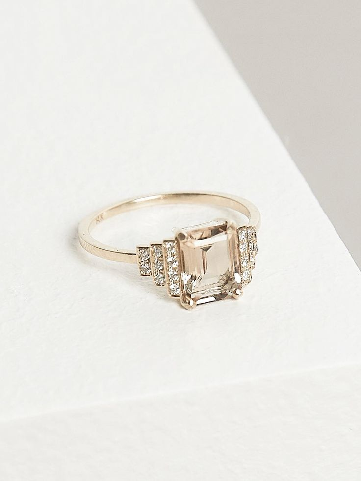 fave natalie marie id only have the two end diamond rows to put an emphasis on the main stone - Art Deco Wedding Rings