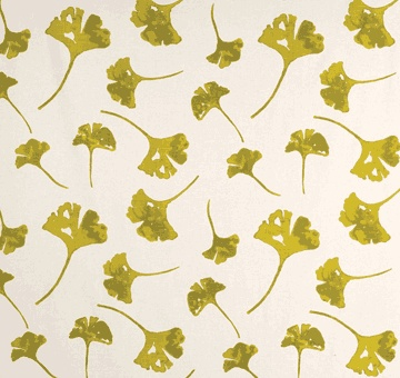 gingko leaves in chartreuse - lula fabrics