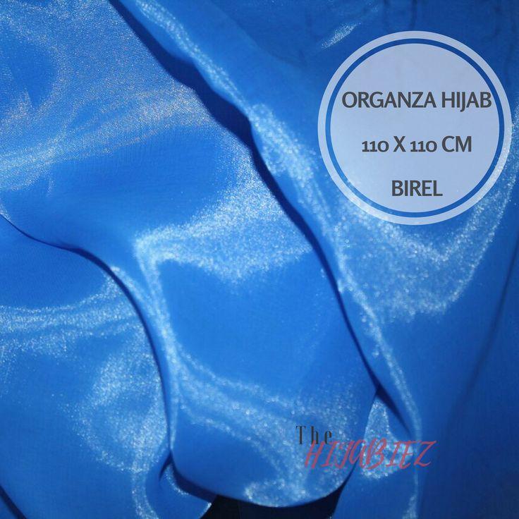 Hijab Organza Silk Square Biru Elektrik