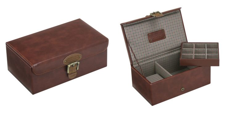 Tan watch/cufflink box with brown checker cotton lining. Horloge EN manchetknopen doosje.