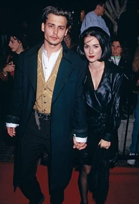 In 1990. Depp landed the lead in Tim Burton's smash hit, Edward Scissorhands. After meeting co-star Winona Ryder on set, Depp and Ryder became Hollywood's hottest couple. (© Frank Trapper/Corbis)