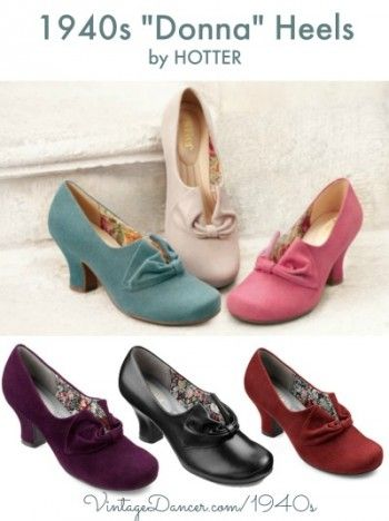 "1940s style ""Donna"" shoes in many colors and wide widths too. New colors each season. Shop VintageDancer.com/1940s"