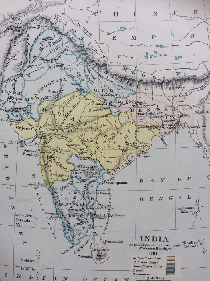 North America Map In 1750%0A      India at the close of the government of Warren Hastings      Original  Antique Map