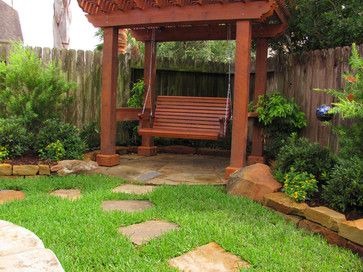 Pergola With Rope And Bed Swing Outdoors Contemporary