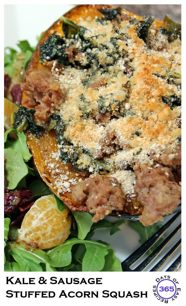 Kale and Sausage Stuffed Acorn Squash | 365 Days of Easy Recipes