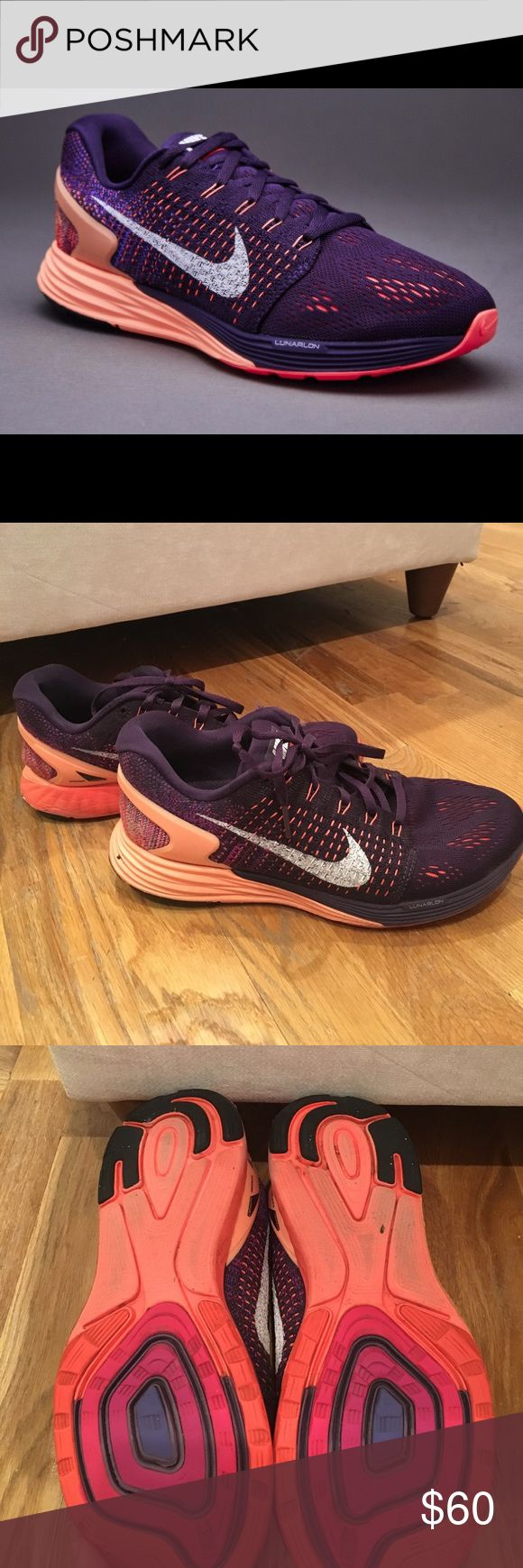 Nike Lunarglide 7 Sneakers Gently used women's lunar glide 7 purple and orange sneakers. Perfect fit for running and working out. Very comfortable. A lot of use still left in them! Nike Shoes Sneakers
