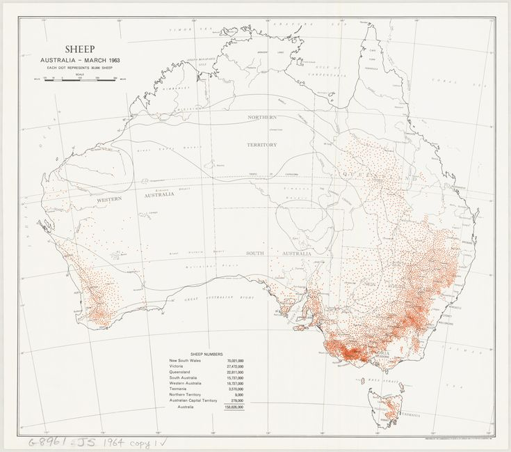 Distribution of Australian Sheep for March 1963 - 70 million in NSW alone