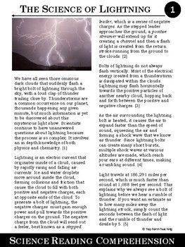 Download this FREE ARTICLE to see if it fits your needs. More like these are COMING SOON!Save time and engage your students with this fun and interesting science article about lightning while teaching literacy in your science classroom! This science article includes a 7-paragraph article with reading comprehension questions and a teacher key.