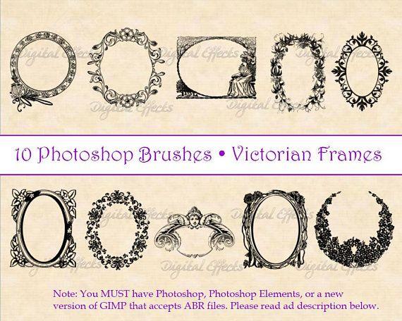 Photoshop Brushes Vintage Frame Brushes 10 Victorian Frames Etsy Photoshop Brushes Photoshop Brushes Vintage Photoshop