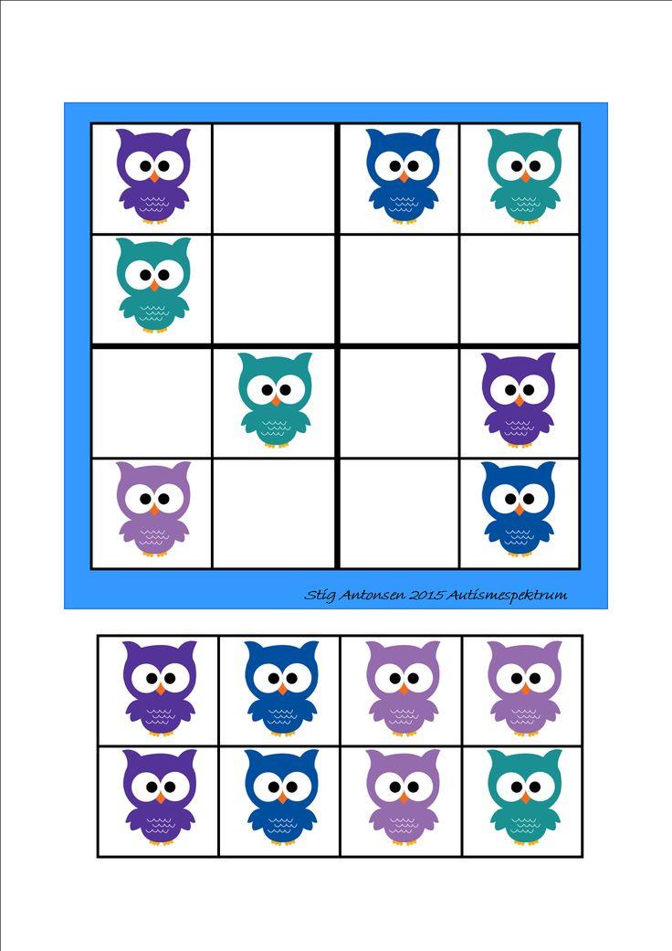 Simple sudoku owls - cut and paste.  By Autismespektrum
