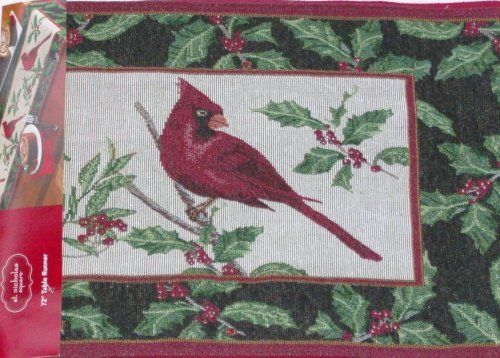"""St Nicholas Square Cardinal & Holly Berries Woven Tapestry Table Runner 13x72 by St Nicholas Square. $24.99. This pretty woven tapestry runner has a pattern of red cardinals and holly berry. It is a great look and will add style to any table!St Nicholas Square woven tapestry table runnerRed cardinals and holly with berriesRed cardinals and holly boughs bordered with holly on black backgroundBack is solid red colorMeasures 13"""" by 72""""Face is54% cotton/46% polyest..."""