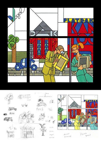 Stained glass window - Joost Swarte - Griffioen Grafiek