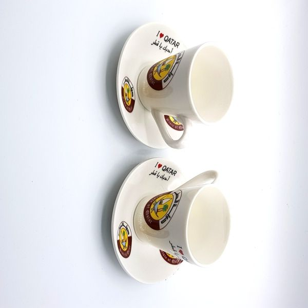 فنجان للقهوة مع شعار دولة قطر هدايا اليوم الوطني قطر Qatar National Day Glassware Mugs