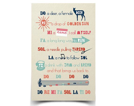 Because a Sound of Music singalong is always a good idea. :: Do Re Mi  Poster by papersparrow on Etsy