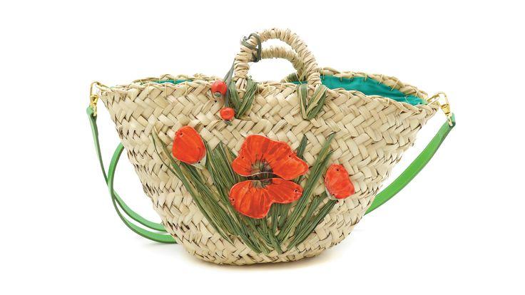 Coffa #Papaveri con elementi in #ceramica. Dwarf palm bag Papaveri (#Poppies) with #ceramic elements - by #Ciprialavica