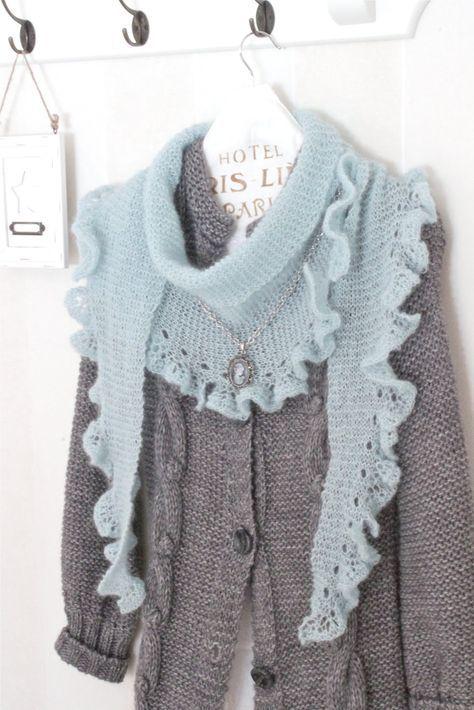 Stickbeskrivning till sjal : Garn: Merino Lace (Schoppel Wolle) 50gr ( Innehåller 400 m garn ). Garnet är ett tunt mohairgarn, köpt hos L...