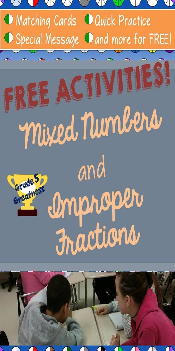 FREE from Grade 5 Greatness on Teachers Pay Teachers:  Activities to practice switching between mixed numbers and improper fractions!  Fun math review all for FREE!