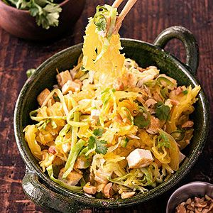 Spaghetti Squash Pad Thai. Add scallions and a little carrot and delete tofu add shrimp or chicken (soy= bad for pcos)