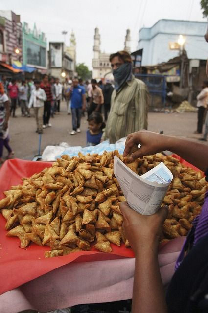 Heap of samosas for sale at a street corner in Hyderabad #streetfood #travel