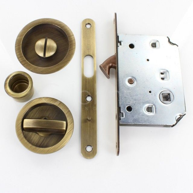 Bathroom Hook Lock For Sliding Pocket Doors With Turn And Release Antique Brass