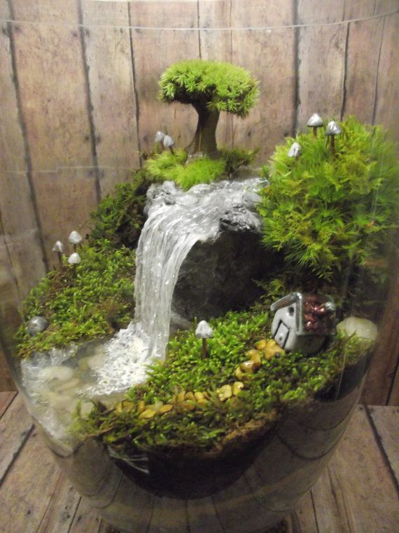 Amazing huge waterfall terrarium with raku fired miniature house tree