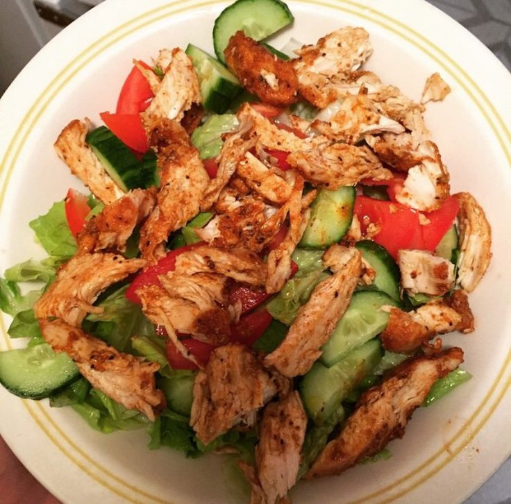 Baked Seasoned Chicken Breast , shredded and added To Fresh Salad