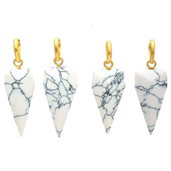 Shark Tooth Shape White Turquoise  Pendant by GEMSTONEEXPORTERS
