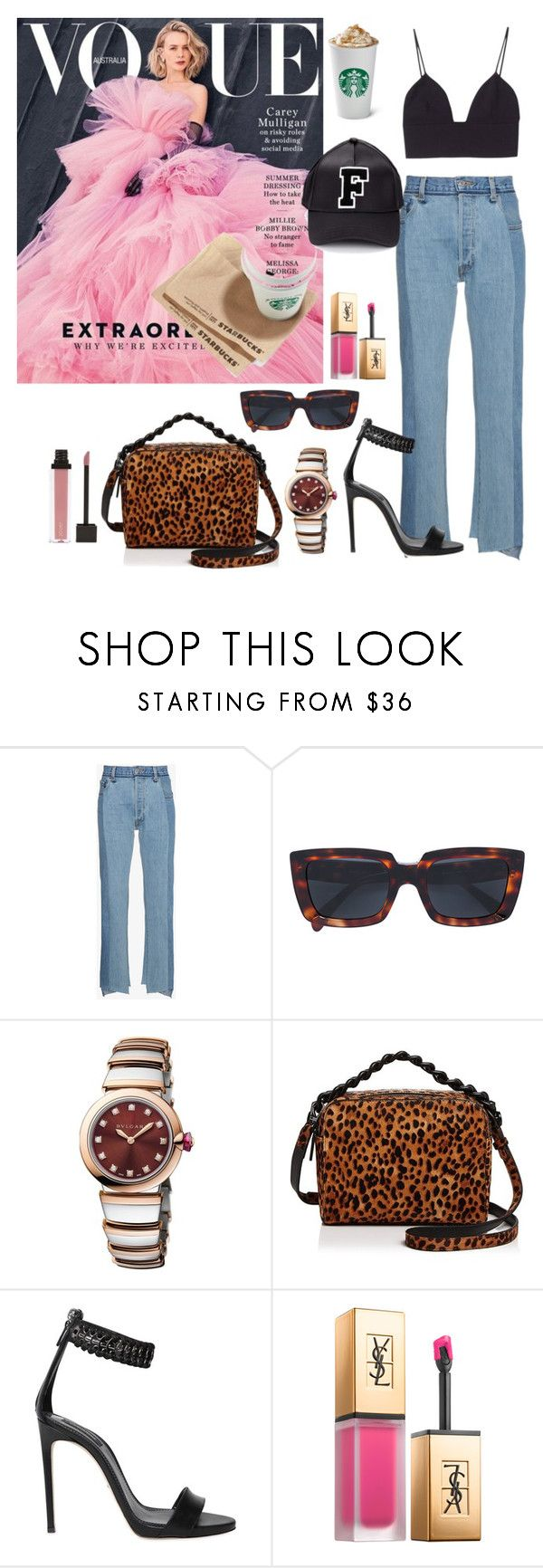 """Untitled #589"" by simran99 ❤ liked on Polyvore featuring Vetements, CÉLINE, Bulgari, Kendall + Kylie, Dsquared2, Yves Saint Laurent and Puma"