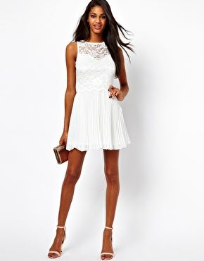 Elise Ryan Lace Skater Dress with Pleated Skirt. Laughlin or Shower option?