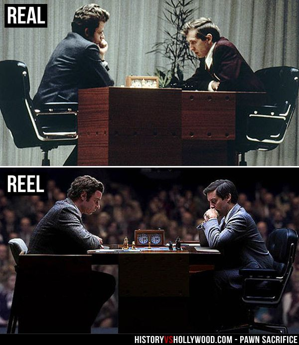 Boris Spassky and Bobby Fischer at the 1972 Chess World Championship in Iceland (top). Liev Schreiber and Tobey Maguire as Spassky and Fischer in the Pawn Sacrifice movie. See more pics: http://www.historyvshollywood.com/reelfaces/pawn-sacrifice/
