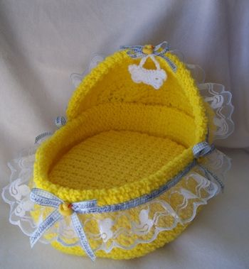 Designer, handmade, crochet, yellow duck dog bassinet Moses basket dog beds for small puppies and teacup and toy breed dogs like Maltese, yorkies and chihuahuas