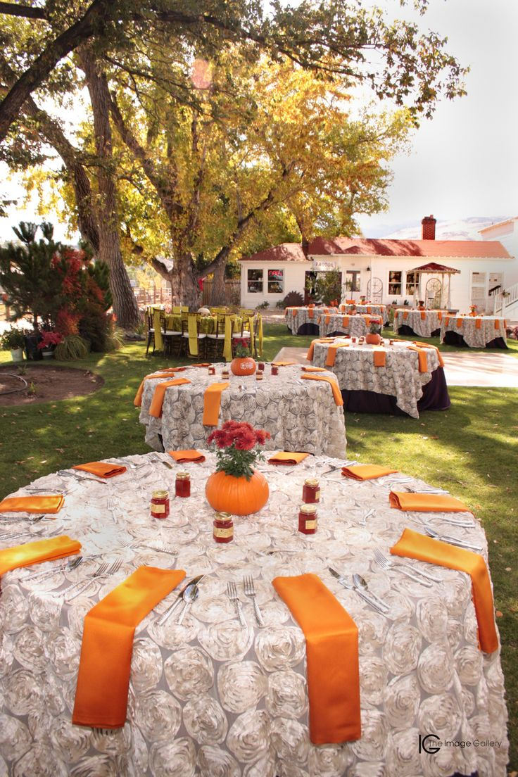 Beautiful fall layout. The white rosettes with pops of orange and navy blue are absolutely perfect!