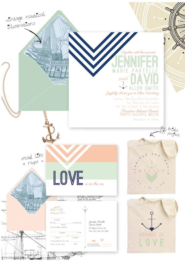 Wedding Invite Suite. Pastel And Navy.