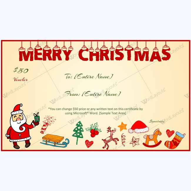 Best Merry Christmas Gift Certificate Templates Images On