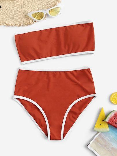 Contrast Piping Bandeau With High Waist Bikini