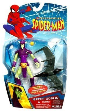 Spiderman Animated Action Figure - Green Goblin by Hasbro. $44.44. See if Spider-Man can stop his pumpkin bombs from causing mayhem. The maniacal Green Goblin now sows chaos above the streets of New York. But armed with his Goblin-Glider and a dangerous assortment of pumpkin bombs, the Goblin is the most formidable foe of Spider-Man. Swing into action with this villainous Green Goblin figure. Based on the animated character, take this outlaw on a thrilling ride in his glider. E...
