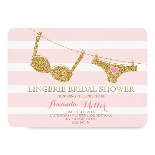 Gold and Pink Striped Shimmer Glitter Beautiful Lingerie Bridal Shower Invitations Announcement Invites  #bridalshower #gold