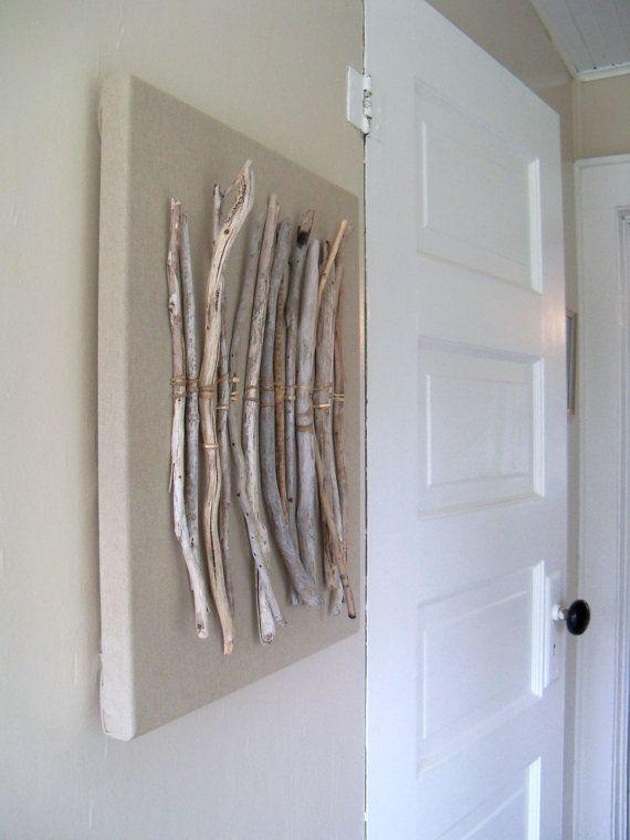 Driftwood Thrift Fabric Sea Grass Assemblage Wall Art by amylgieschen