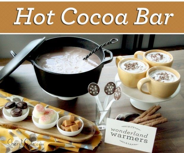 """""""A hot chocolate bar is dazzling to the eye, inexpensive and even better—guests can serve themselves!"""" Also, teens + Reddi Whip = fun graduation party!"""