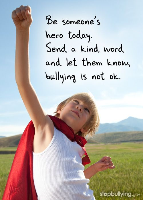 Kids need to know the importance of bullying in the cyber world. This image can open discussions such as: What is a hero? How can we be heroes for others? What is a bully and how does it make us feel?