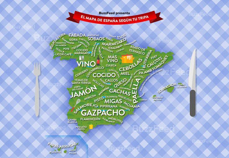 Nuestro mapa de los platos típicos españoles.   24 mapas locos que muestran España como nunca la habías visto