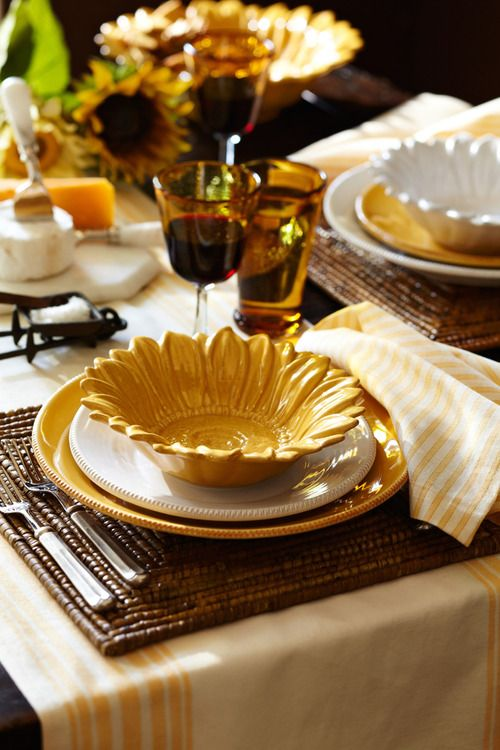 Those sunflower dishes we have can look nice for a table setting?!