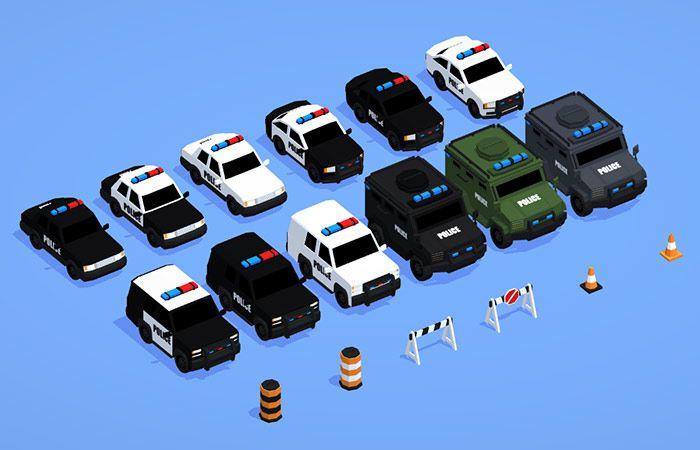 Low Poly Police Car Pack