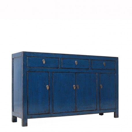 Dark Blue Lacquer Sideboard | 4 Door 3 Drawer | Orchid · Asian  FurnitureVintage FurnitureChinese CabinetStorage ...