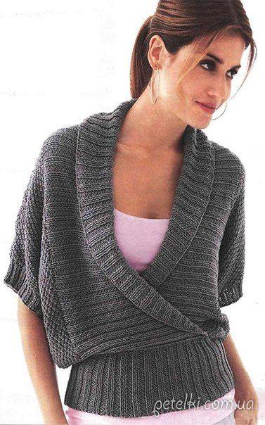 Пуловер с воротником шалька. Описание вязания, выкройка<br><br>Вот такой замечательный пуловер, вязаный на спицах, больше напоминающий жилет. Можно сказать, палочка-выручалочка практически на любой случай. <br> <br>РАЗМЕРЫ 36/38 (40/42) 44/46<br><br>ВАМ ПОТРЕБУЕТСЯ<br><br>• 550 (600) 650 г тёмно-..
