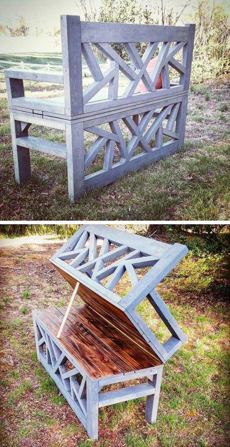 Outdoor Convertible Bench that turns into a coffee table for the backyard