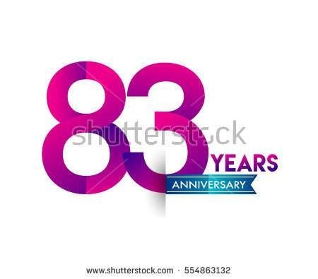 eighty three years anniversary celebration logotype colorfull design with blue ribbon, 83rd birthday logo on white background