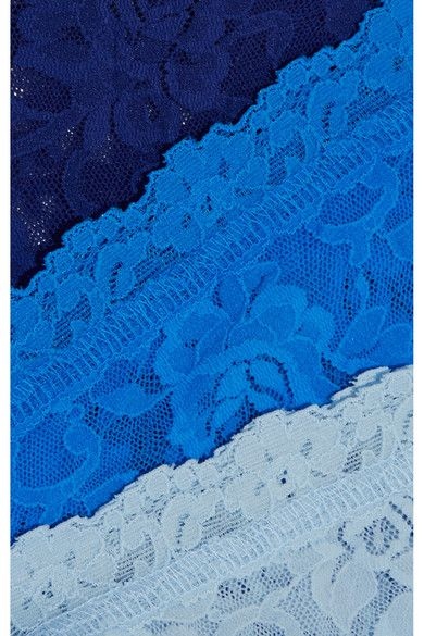 Hanky Panky - Signature Set Of Three Stretch-lace Boy Shorts - Light blue -