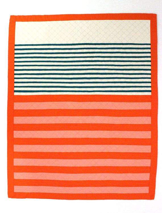Striped Baby Girl Quilt / Toddler Quilt Coral by MelissaHevey