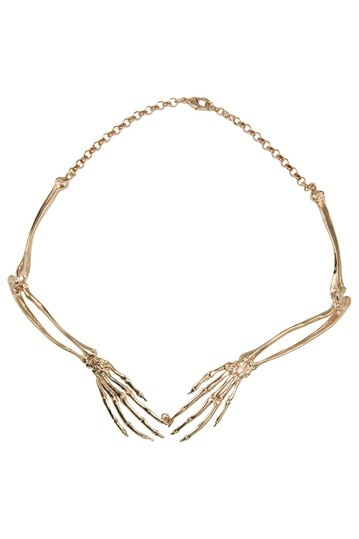 Wildfox Couture Jewelry Bone Collar Necklace Antique rose gold plated skeleton bone
